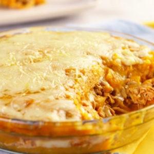 Escondidinho de frango, arroz integral e panachet